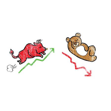 bearish business: Animal bull and bera stock markt trend
