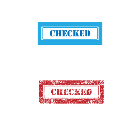 checked: Imprint checked texture stamp vector Illustration