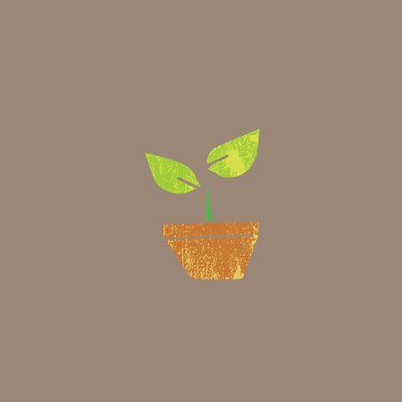flowerpot: Flower growing in flowerpot cartoon Illustration