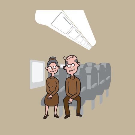 passengers: Transportation passengers in airplane cabin