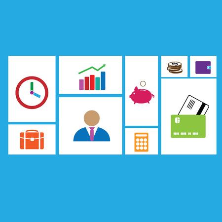 credit risk: Business icons set flat design