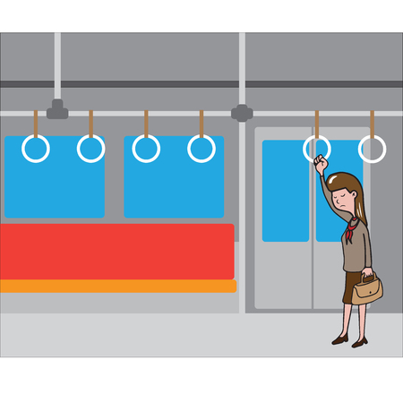 woman standing: Transportation woman standing in train