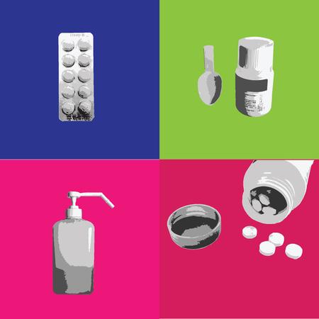 syrup: Medicine Syrup dosage in bottle graphic print