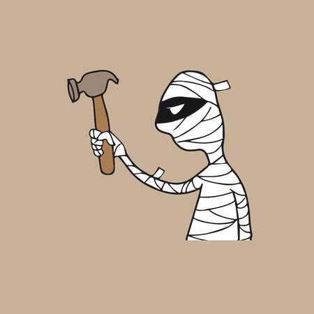 mummified: Halloween mummy holding hammer cartoon drawing Illustration