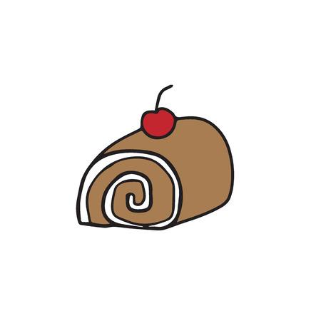 swiss roll: Food rolled cake cartoon drawing Illustration