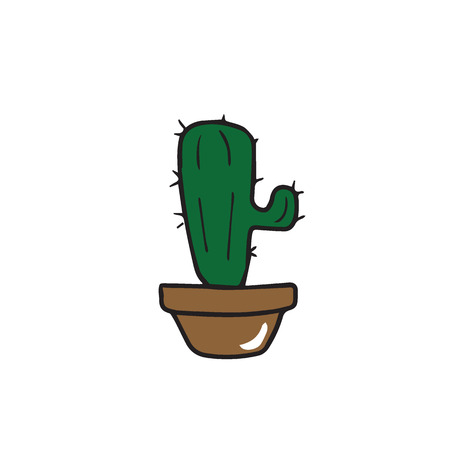plant pot: Plant cactus in pot cartoon drawing
