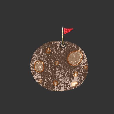 meteorite: Space meteorite with red flag cartoon stamp