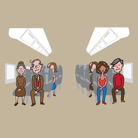 cabin attendant: Transportation passengers in airplane cabin vector Illustration