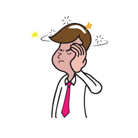 Health man dizzy cartoon drawing Illustration
