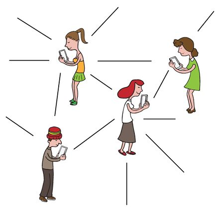 Technology people using smartphone connection cartoon drawing