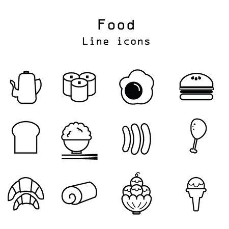egg roll: Food restaurant menu line icons set Illustration
