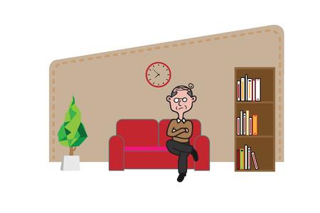 old man sitting: Old man sitting angrily on sofa Illustration