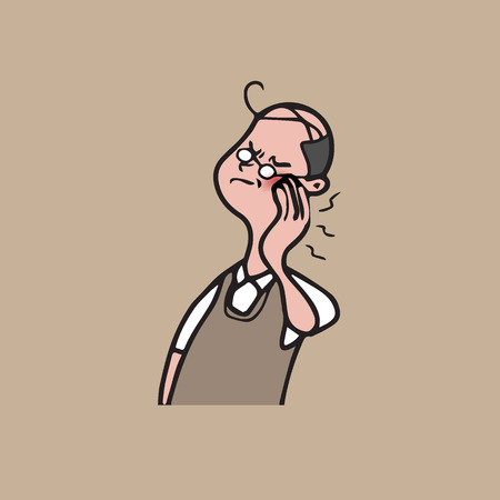 toothache: Health man toothache cartoon drawing Illustration