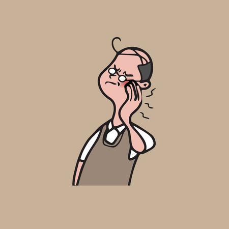 abscess: Health man toothache cartoon drawing Illustration