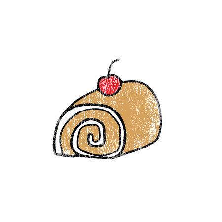swiss roll: Food rolled cake cartoon drawing stamp