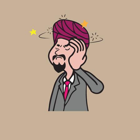 sikh: Health Sikh man dizzy cartoon drawing