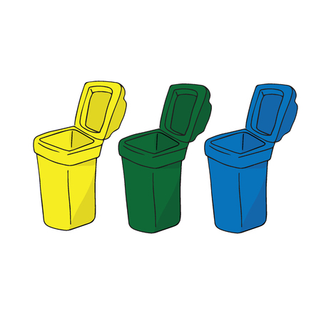 garbage container: Trash garbage container cartoon drawing