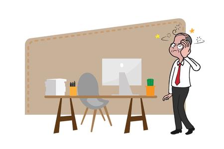 headache man: Old man headache in office Illustration