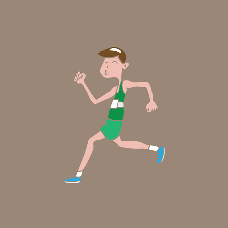 jogging in nature: People man sport running cartoon Illustration