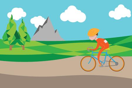ridding: Man ridding bicycle in village road