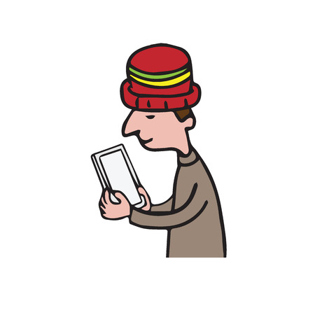 using smartphone: Technology man using smartphone cartoon drawing