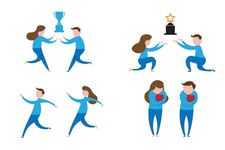 business team: Business team holding trophy cartoon