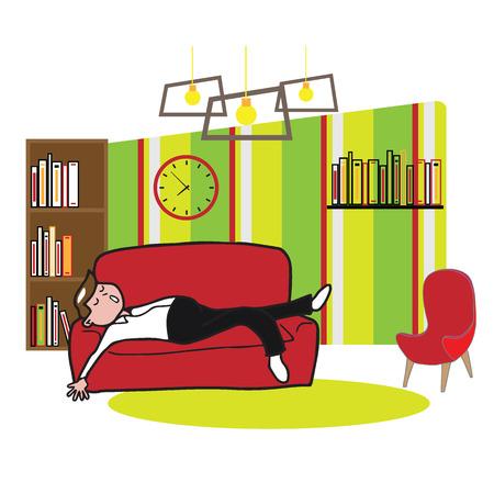 tried: Man sleep on sofa in living room