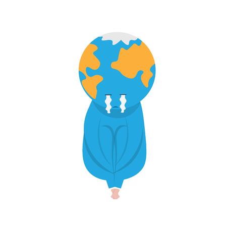 knees: Earth crying sit and hug his knees Illustration