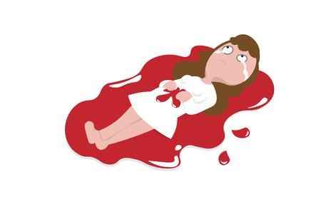 Woman excess wound bleeding cartoon