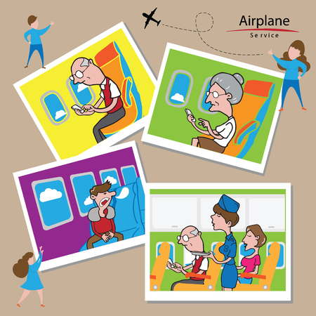 aisle: Airplane transportation service cartoon drawing