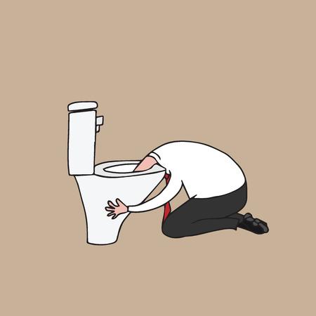 gente hombre vomitando en el baño de dibujos animados dibujo Ilustración de vector