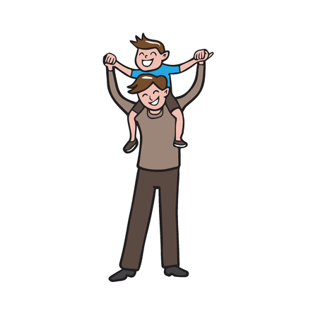 father and child: Boy on father shoulder cartoon drawing Illustration