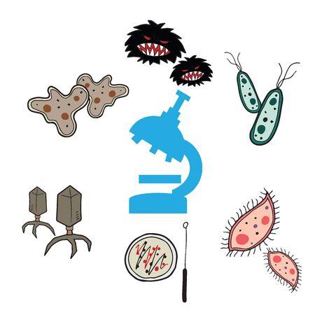 microbiologia: bacterias microbiolog�a y laboratorio de dibujo de la historieta Vectores