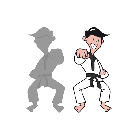 kwon: Man martial art cartoon drawing Illustration