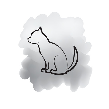 painted dog: Dog line drawing on painted background