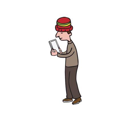 using smartphone: Technology man using smartphone cartoon drawing