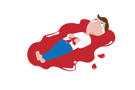 Man serious injured wound bleeding