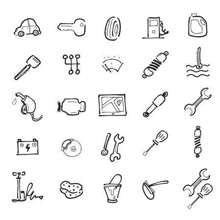 chock: Car service cartoon drawing icons set