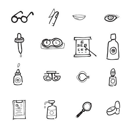 optometry: Eyes and optic icons set