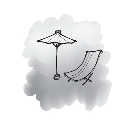 foldable: Beach bed and umbrella cartoon drawing Illustration