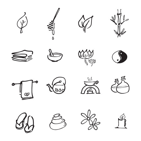 spa relax: Spa relax service icons set Illustration