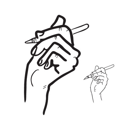 pen cartoon: Hand and pen cartoon drawing