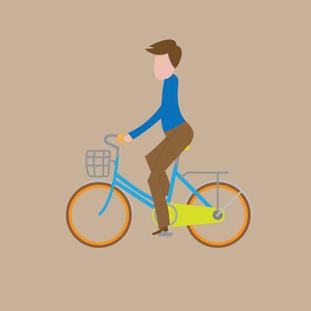 ridding: People man ridding bicycle cartoon