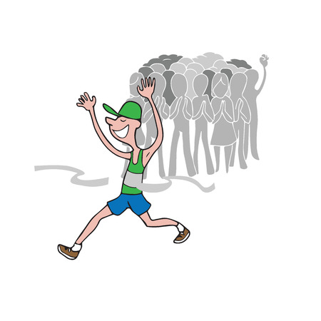 crowd cheering: People crowd cheering Marathon runner