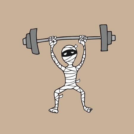Halloween mummy weight lifting cartoon drawing
