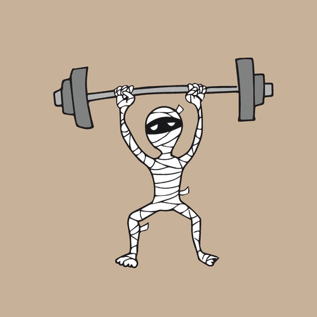 Halloween mummy weight lifting cartoon drawing