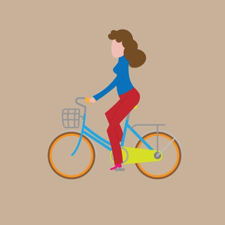 ridding: People woman ridding bicycle cartoon