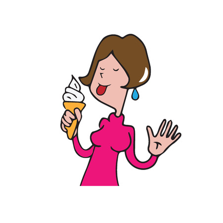 lick: Food woman licking ice cream cartoon drawing Illustration
