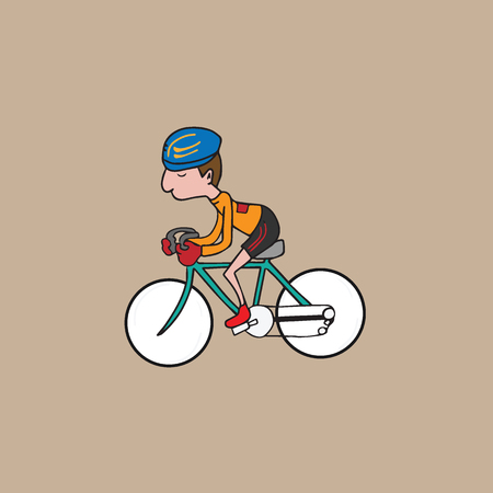 Sport man ridding bicycle vector