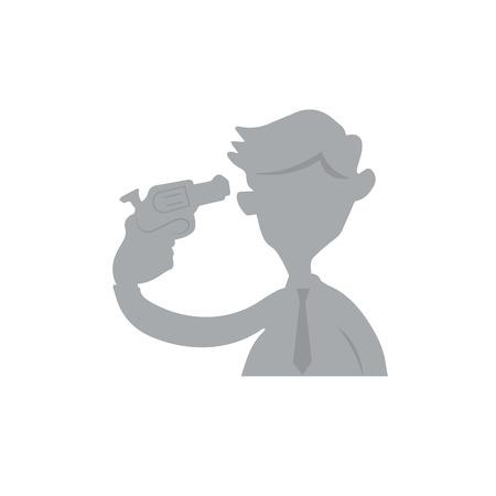 suicidal: People businessman pistol suicide cartoon Illustration